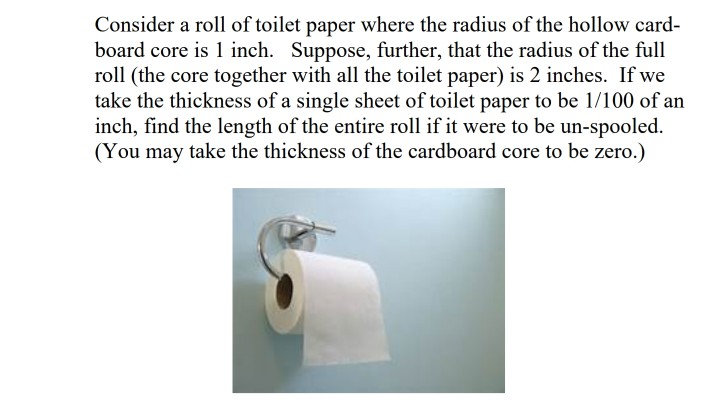 Consider A Roll Of Toilet Paper Where