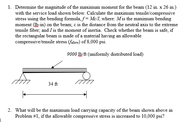 Solved: 1  Determine The Magnitude Of The Maximum Moment F
