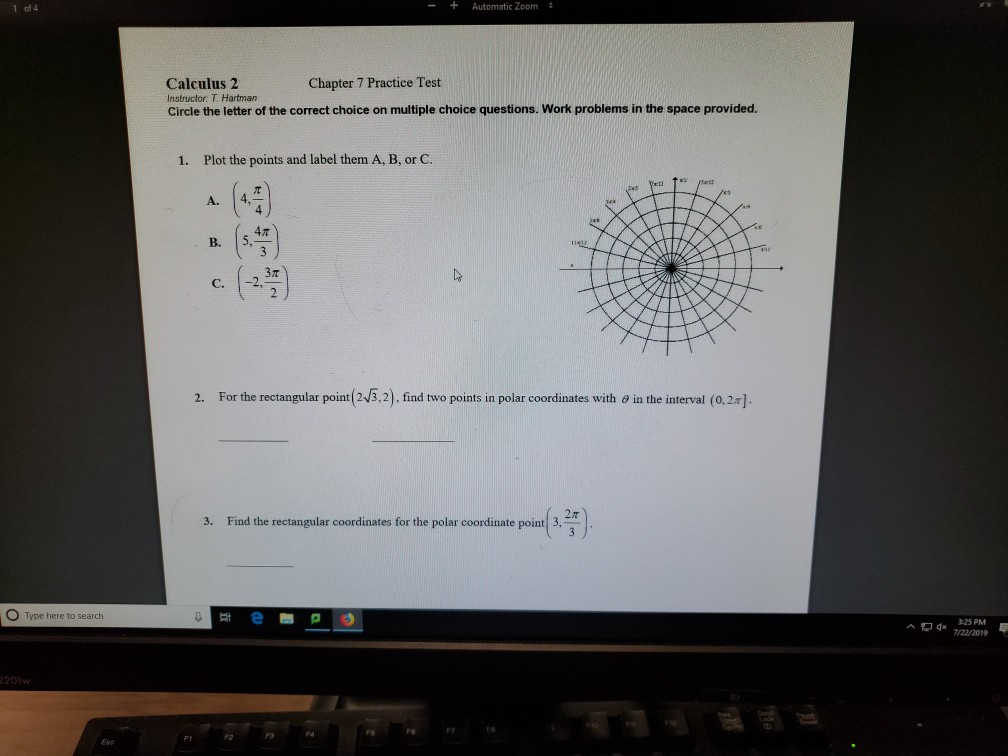 Solved: 1 Of 4 + Automatic Zoom : Calculus 2 Chapter 7 Pra