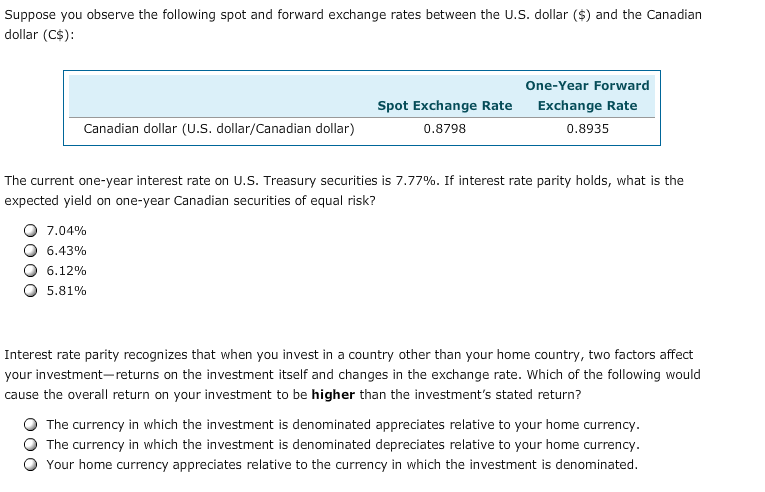Solved 5 Interest Rate Parity Aa E