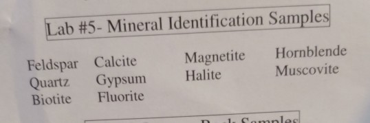 Solved: Mineral Identification Chart Contains Color, Luste