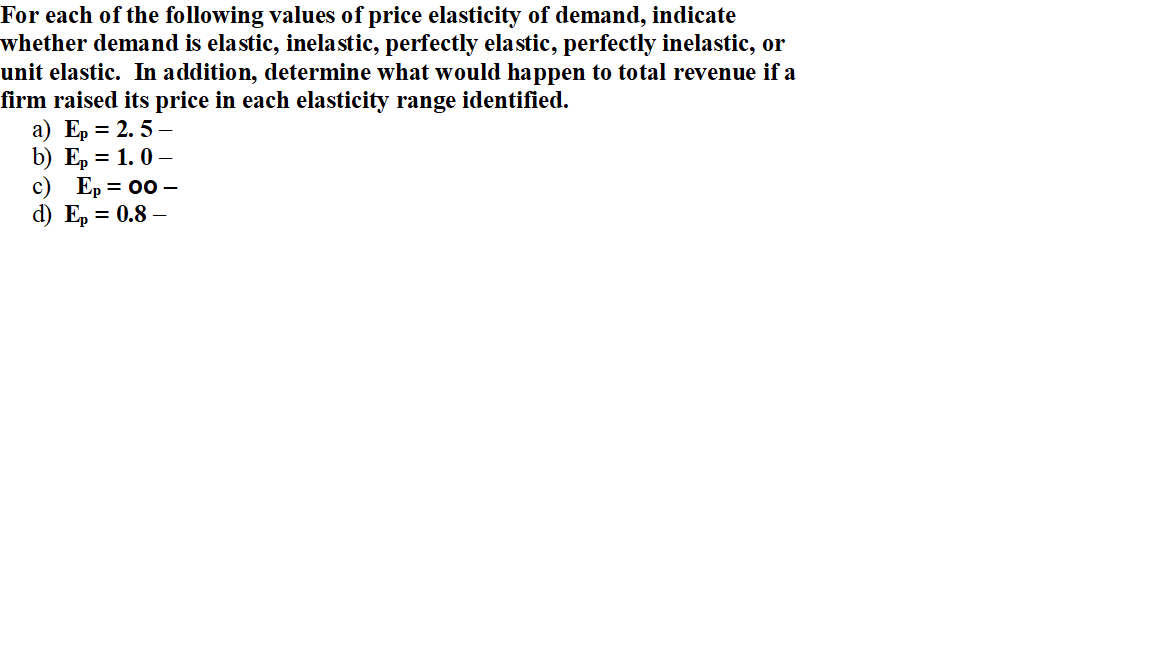 Solved For Each Of The Following Values Of Price Elastici