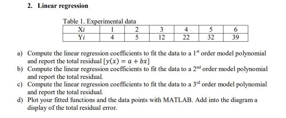 2  Linear Regression Table 1  Experimental Data Xi