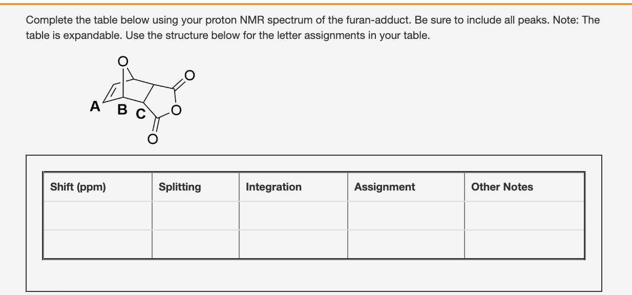 Solved Complete The Table Below Using Your Proton Nmr Spe