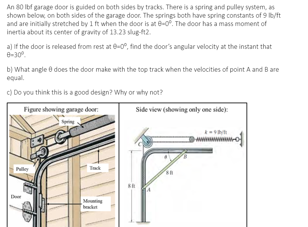 An 80 L Garage Door Is Guided On Both, Pulley System For Garage Door