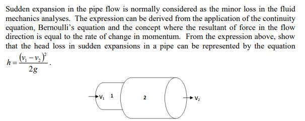 Solved: Sudden Expansion In The Pipe Flow Is Normally Cons