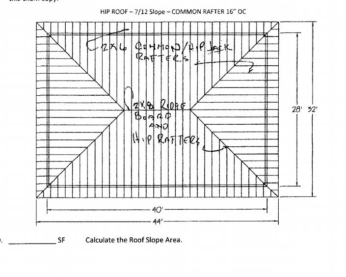 Hip Roof 7 12 Slope Common Rafter 16 Oc Au Ga Chegg Com