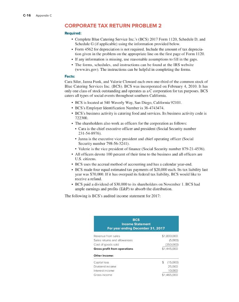 form 8992 penalty  C-13 Appendix C CORPORATE TAX RETURN PROBLEM 13 Req ...