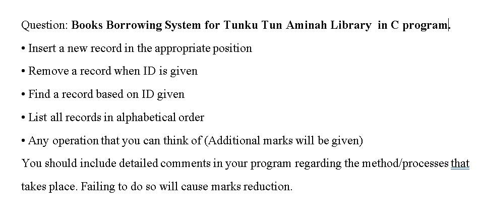 Solved Question Books Borrowing System For Tunku Tun Ami Chegg Com