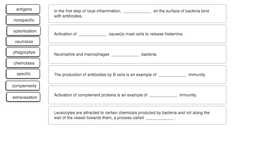 antigens In the first step of local inflammation, with antibodies. on the surface of bacteria bind nonspecific opsonization A