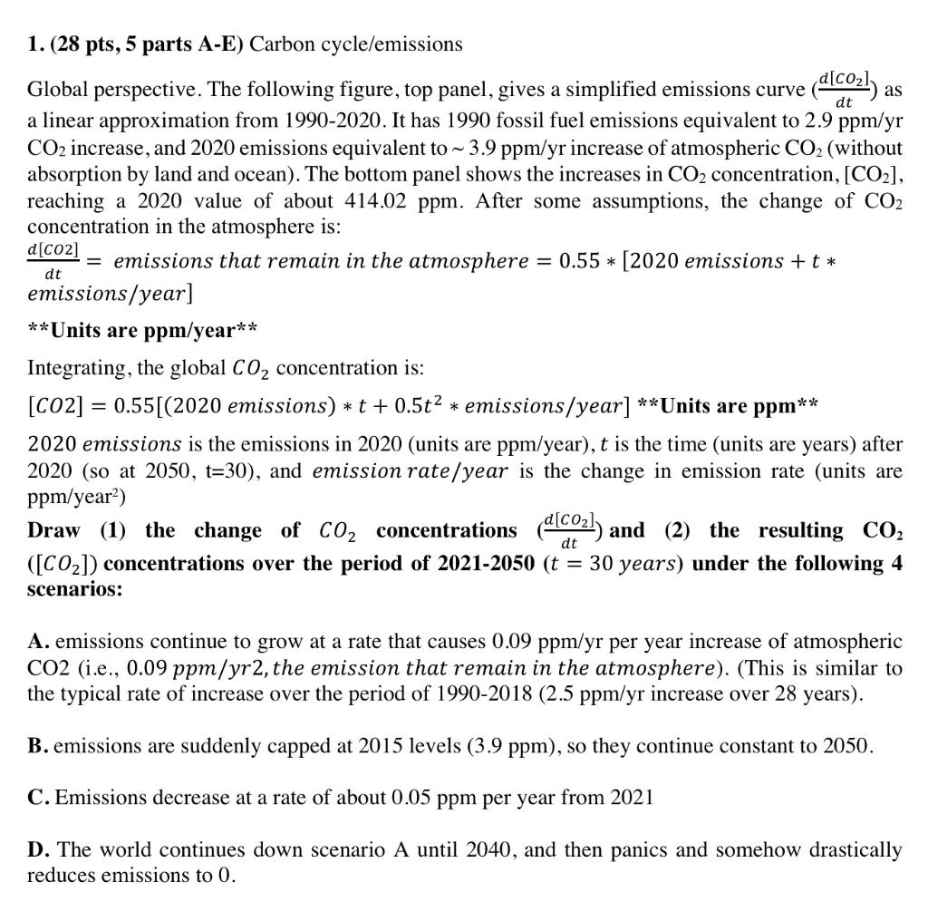 as dt dt 1. (28 pts, 5 parts A-E) Carbon cycle/emissions Global perspective. The following figure, top panel, gives a simplif