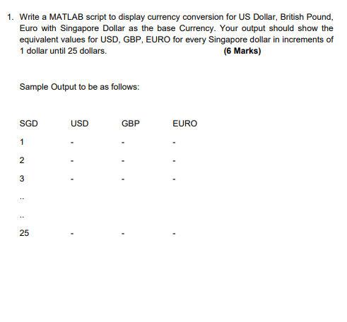 Matlab Script To Display Currency