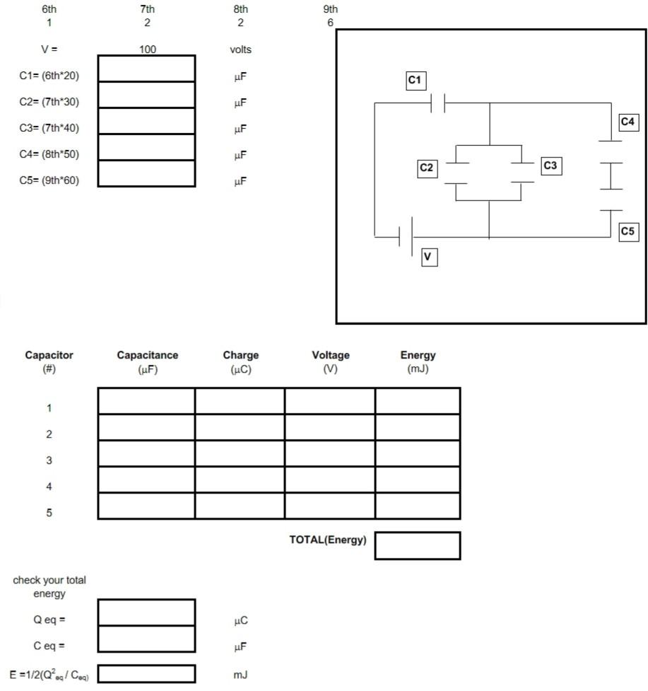 V= C1= (6th 20) c2=(7th*30) I C3= (7th*40) C4=(8th*50) 4 C5= (9th*60) H Capacitor (#) Capacitance (UF) Charge (C) Voltage (V)