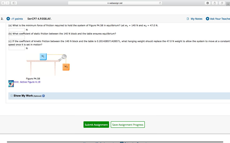Solved Webassign Net 2 11 Points Sercp7 4 P 058 Af M