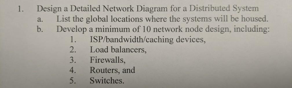 Solved 1 Design A Detailed Network Diagram For A Distrib Chegg Com