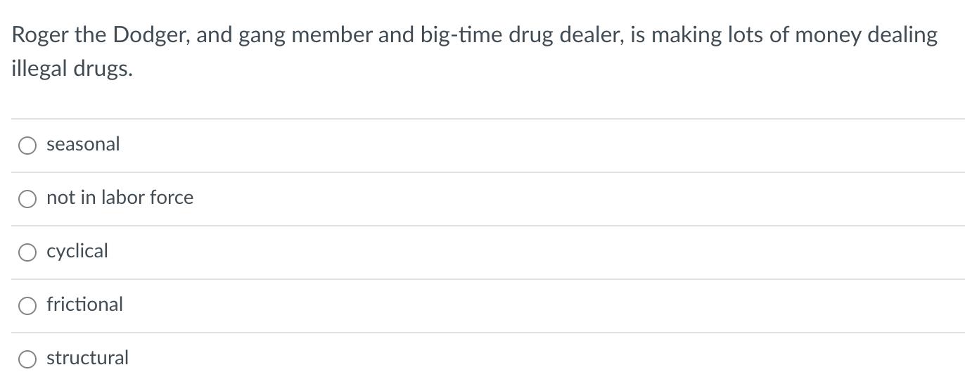 Roger the Dodger, and gang member and big-time drug dealer, is making lots of money dealing illegal drugs. seasonal not in la