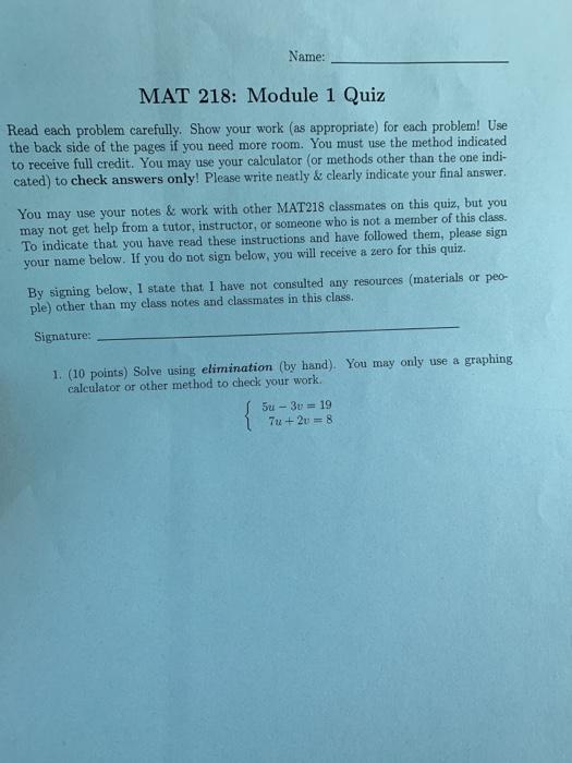 Solved: Name: MAT 218: Module 1 Quiz Read Each Problem Car