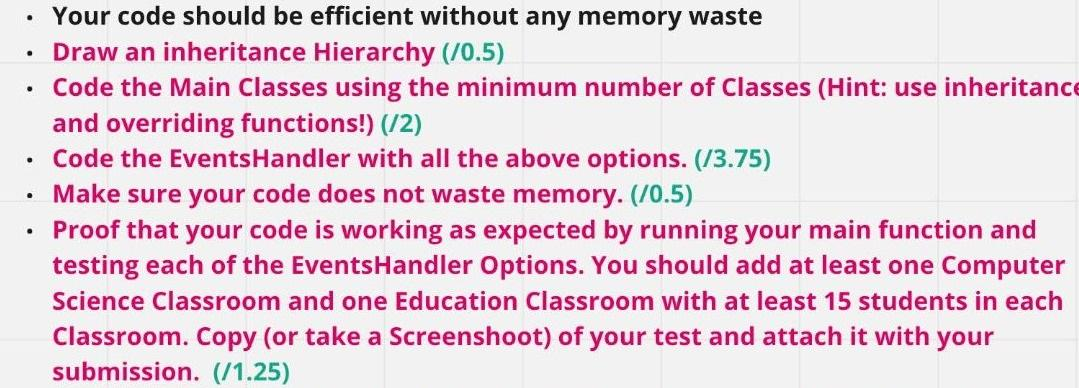 . . Your code should be efficient without any memory waste Draw an inheritance Hierarchy (10.5) • Code the Main Classes using