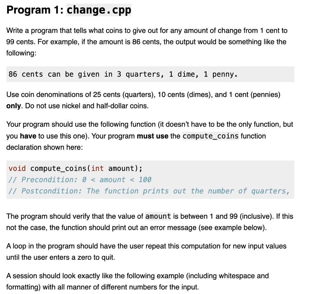 Solved Program 23: change.cpp Write a program that tells what