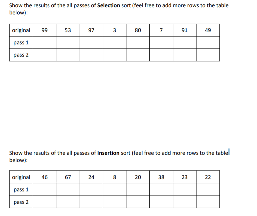 Show the results of the all passes of Selection sort (feel free to add more rows to the table below): original 99 53 97 3 80