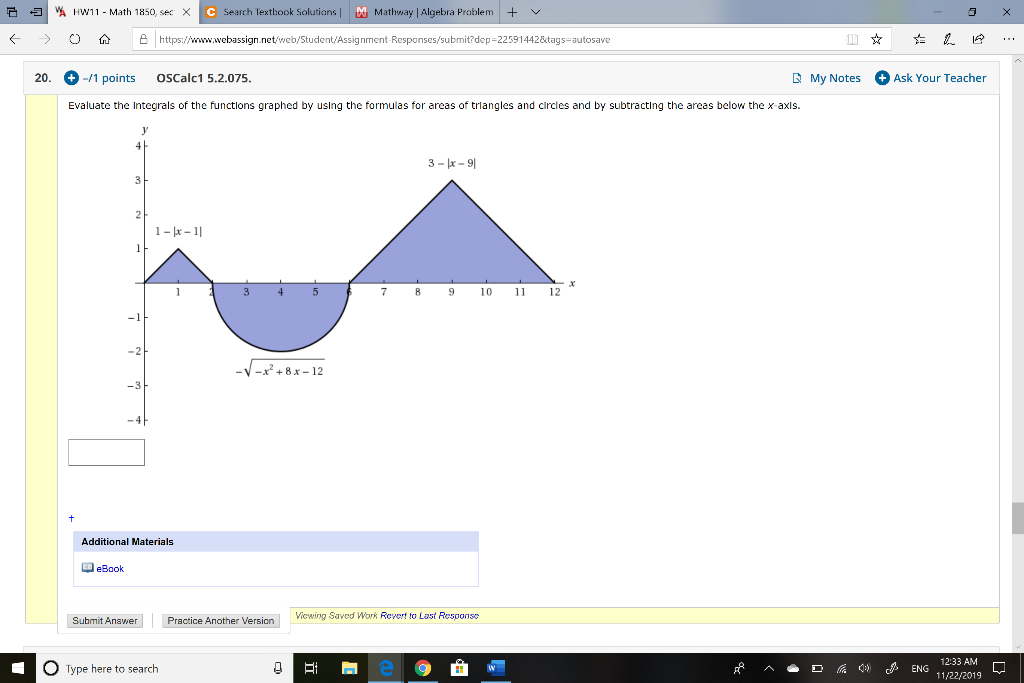 Solved: Evaluate The Integrals Of The Functions Graphed By ... on