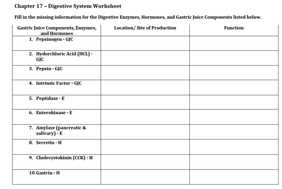 Solved Chapter 17 Digestive System Worksheet Fill In Th Chegg Com
