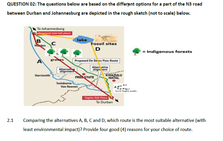 QUESTION 02: The questions below are based on the different options for a part of the N3 road between Durban and Johannesburg