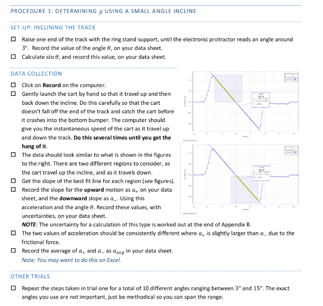 PROCEDURE 1: DETERMINING G USING A SMALL ANGLE INC