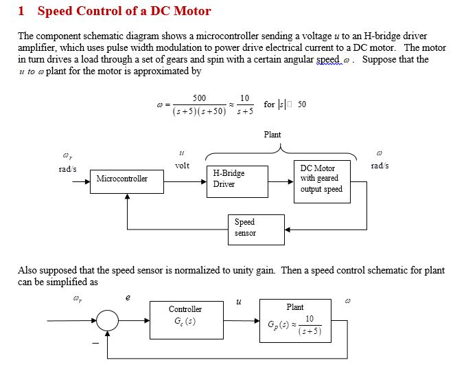 dc motor controller schematic diagram solved 1 speed control of a dc motor the component schema  solved 1 speed control of a dc motor