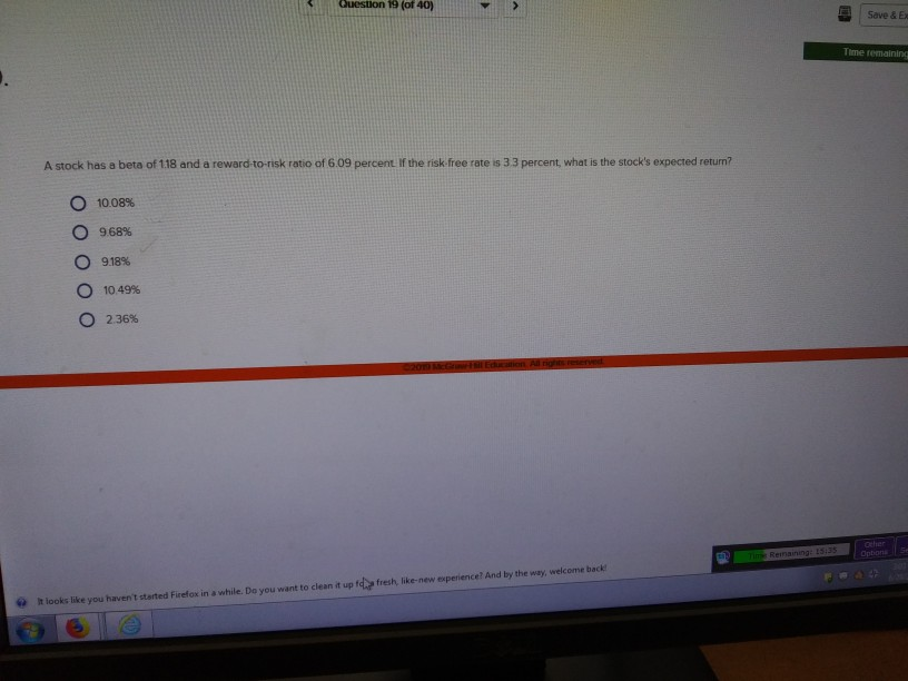 Solved: Question 19 (of 40) Save & Ex Time Remaining A Sto