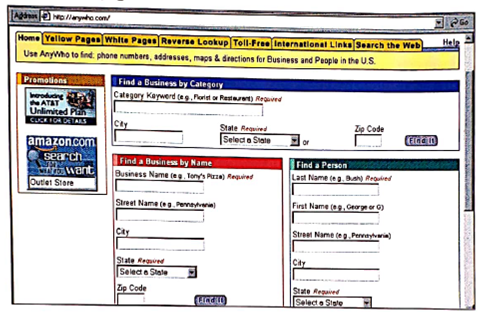Sites such as Yahoo provide ways to search for people