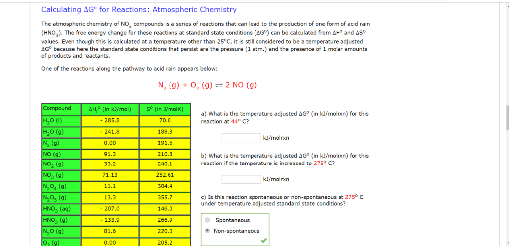 Solved: Calculating AG° For Reactions: Atmospheric Chemist