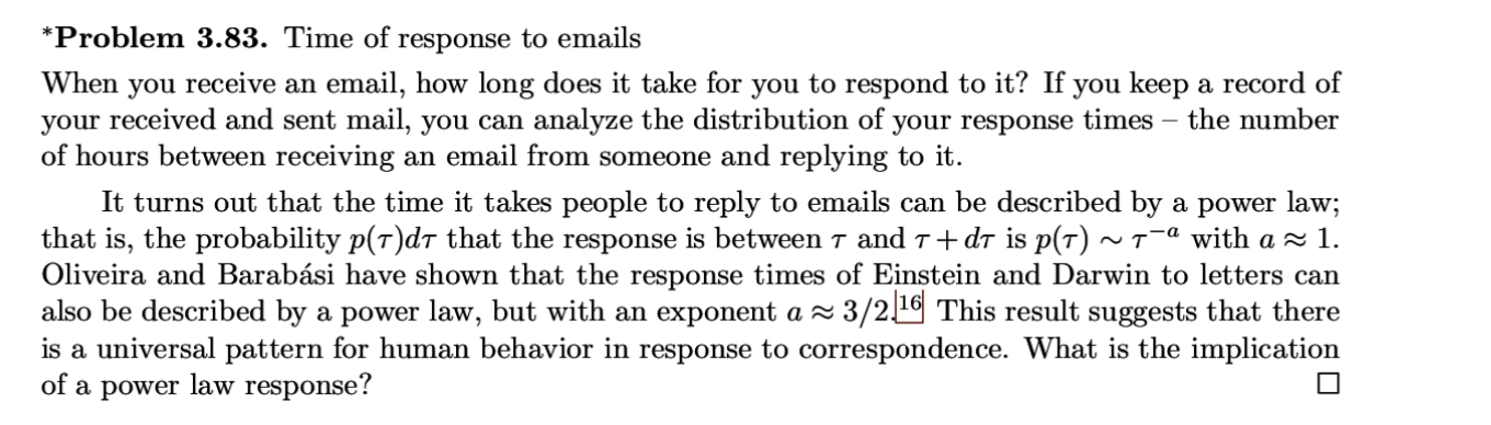 Problem 3 83 Time Of Response To Emails Email H Chegg Com