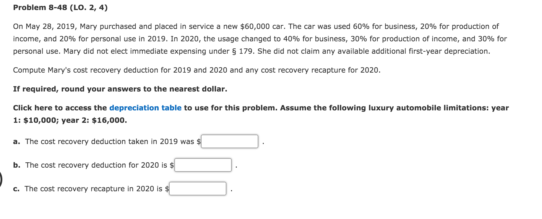 2020 Business Deduction Changes.Problem 8 48 Lo 2 4 On May 28 2019 Mary Purc