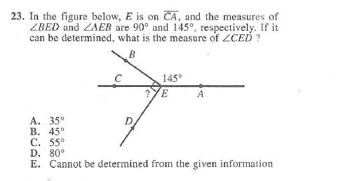 23. In the figure below, E is on CA, and the measures of ZBED and ZAEB are 90° and 1450, respectively. If it can be determine