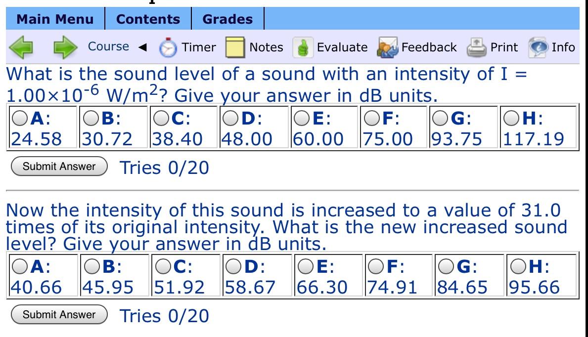 24 Timer Sound solved: main menu contents grades course < timer notes & e