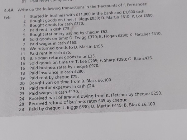 4.4A Write up the following transactions in the T-accounts of F. Fernandes Started in business with £11.000 in the bank and £
