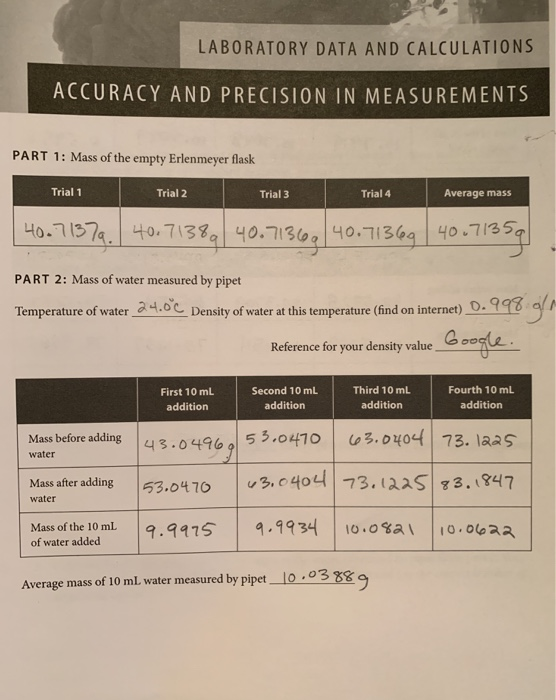 Solved: POST-LABORATORY QUESTIONS ACCURACY AND PRECISION I