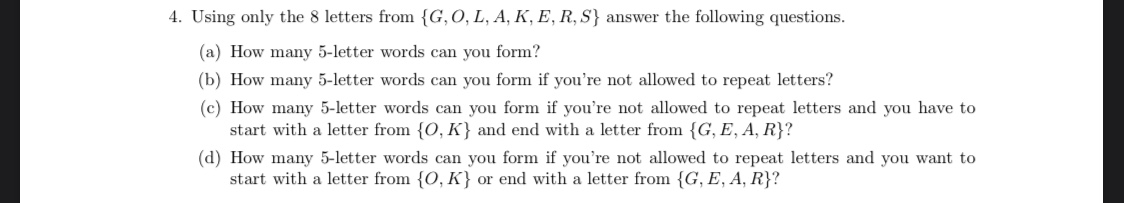 Solved 4 Using Only The 8 Letters From G O L A K E Chegg Com