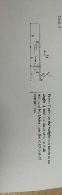 Task 4 Force F acts on the weightless beam at an angle a and the force couple with moment M. Determine the reactions of const