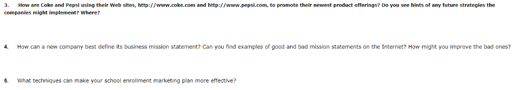 Solved: How Are Coke And Pepsi Using Their Web Sites, Http