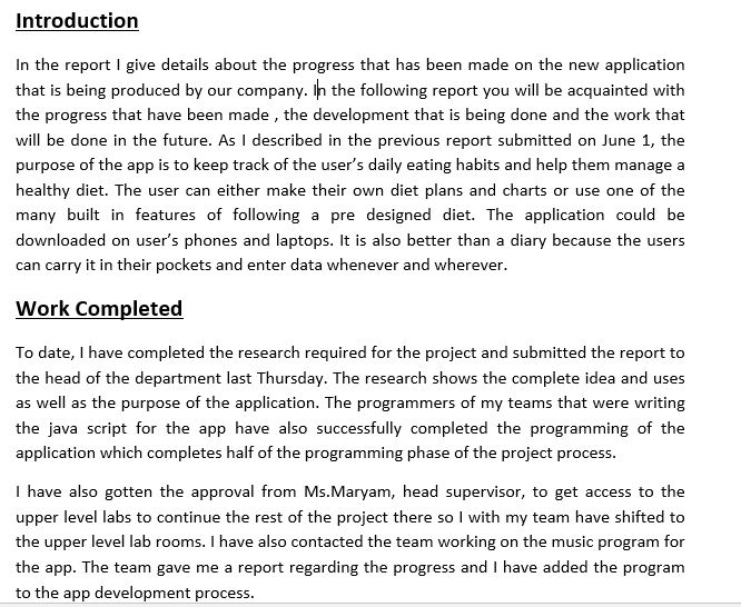 types of progress report