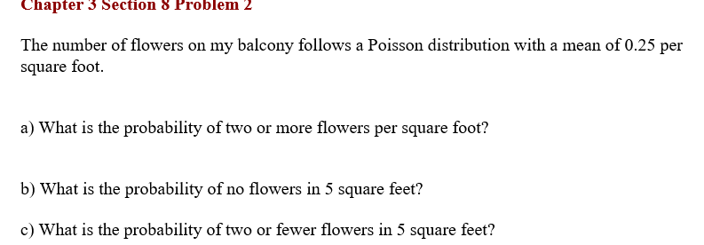 Solved Chapter 3 Section 8 Problem 2 The Number Of Flower Chegg Com