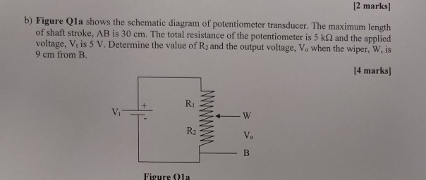 [2 marks] b) figure qla shows the schematic diagram of potentiometer  transducer