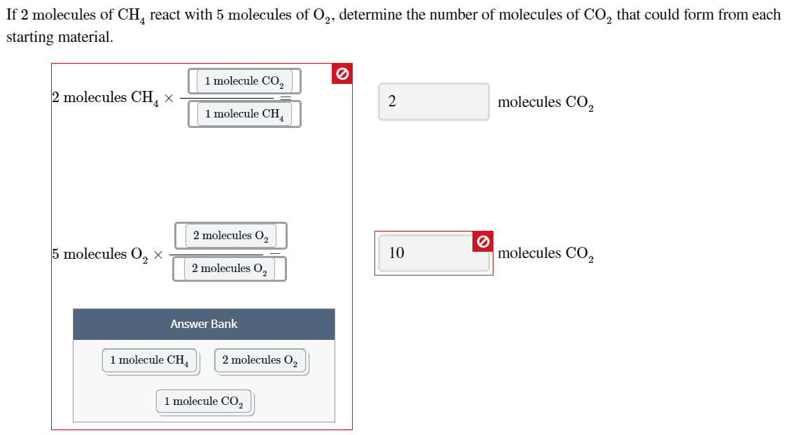 If 2 molecules of CH, react with 5 molecules of 0,, determine the number of molecules of Co, that could form from each starti