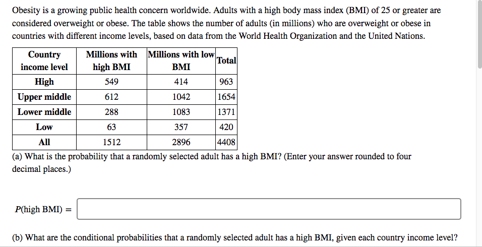 Solved Obesity Is A Growing Public Health Concern Worldwi Chegg Com