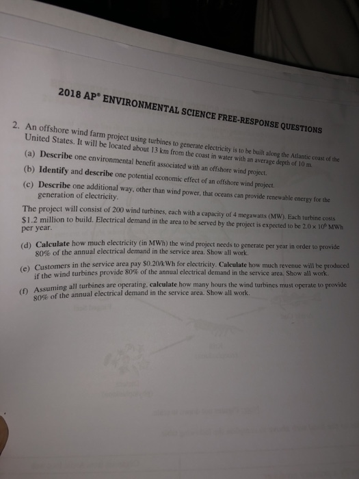 ap environmental science free response questions and answers