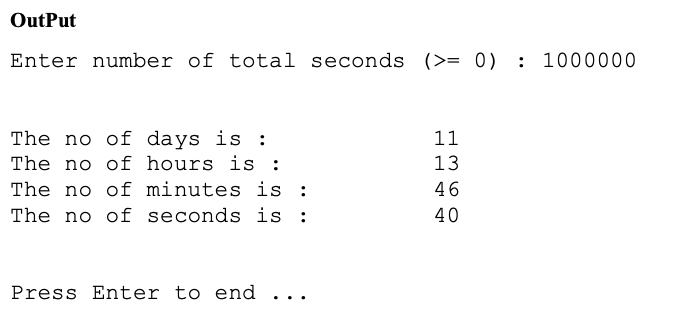 Solved Time Calculation Your Program Is To Prompt The Use Chegg Com