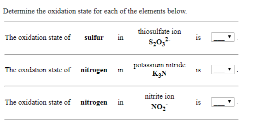 Solved Determine The Oxidation State For Each Of The Elem Chegg Com
