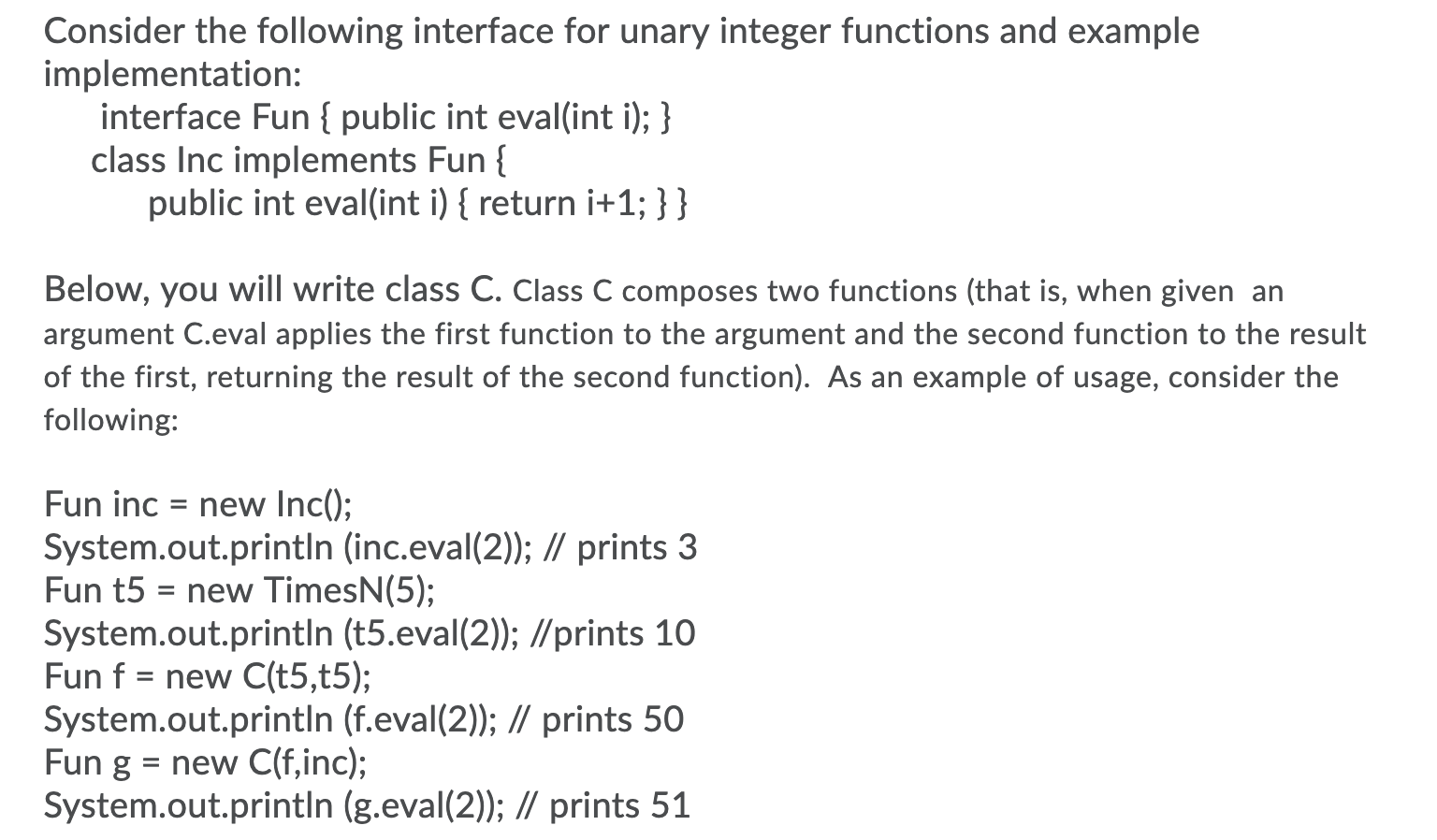 Solved Implementation Interface Fun Public Int Eval In Chegg Com